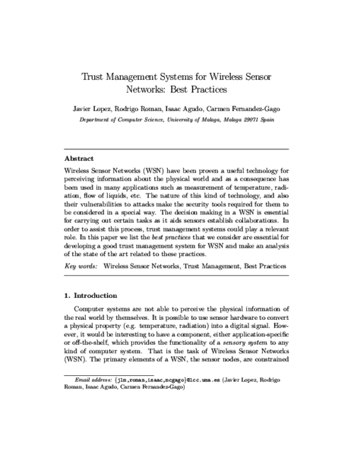 Trust Management Systems for Wireless Sensor Networks: Best